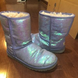 Purple sparkly Ugg boots